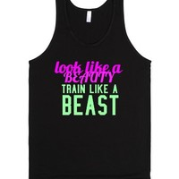 look like a beauty train like a beast (tank)-Unisex Black Tank