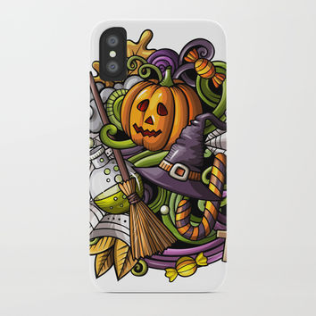 Halloween sticker iPhone Case by Printerium