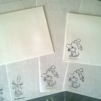 Snoopy stationery Set 1 5 10 parchment paper letter writing and envelope hand stamped dog Woodstock bird handmade cards adult coloring page