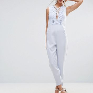 ASOS Jumpsuit in Satin with Strapping Corset Bodice at asos.com