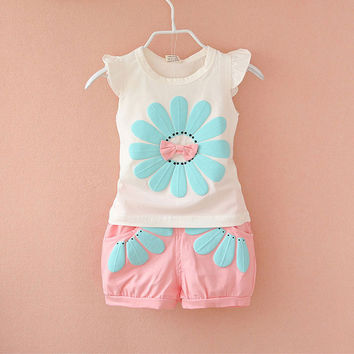 Summer Newborn Infant Baby Girls Clothes Casual Sports Brand Printed Tracksuits For Baby Girls Clothing Outfits Sets