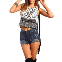 Vintage Crop Top Women Elephant Print Casual Summer Tank Tops Black White Clothing 2017 New Fashion