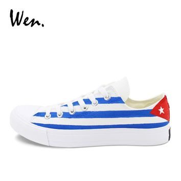 Wen Skateboarding Shoes Canvas Painting Cuba Flag Hand Painted Shoes Low Top Sneakers Men Women Plimsolls Laced Platform Flat