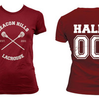 Beacon Hills Lacrosse CRS Hale 00 Derek Hale on Women tee Maroon on Maroon Women tee