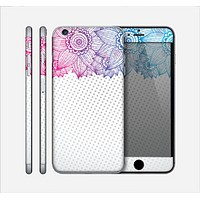 The Vibrant Vintage Polka & Sketch Pink-Blue Floral Skin for the Apple iPhone 6 Plus