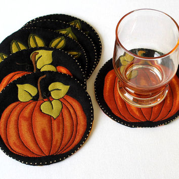 Quilted Coasters - Round Coasters - Pumpkin Coasters - Fall Mug Rugs - Orange Green Coasters - Thanksgiving - Set of 6 Coasters