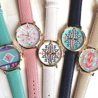 Amazon.com: hd Wholesale 5pcs Fashion Aztec Print Watch Leather Strap Watches