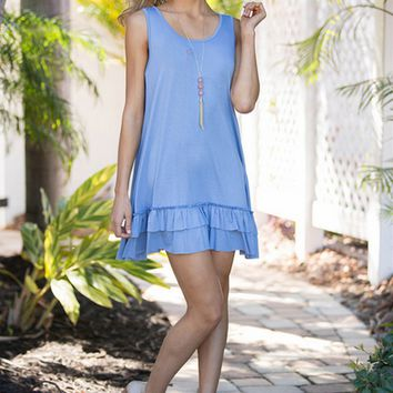 Light Blue Ruffle Hem Dress