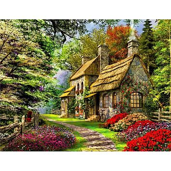 Frameless DIY Painting landscape Cabin in the woods By Numbers Acrylic Paint On Canvas Handpainted Oil Painting For Home Decor