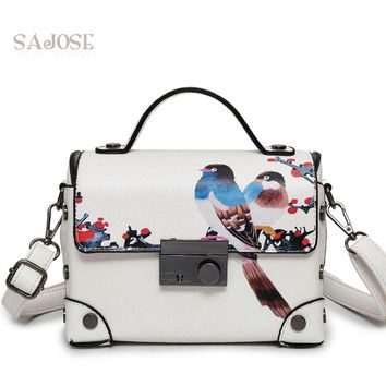 Women Bag Leather Handbag Fashion Trunk Retro Painting Animal Picture White Women's Messenger Lady Shoulder Bag Designer SAJOSE