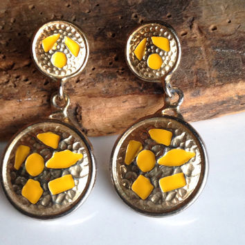 Etsy, Etsy Jewelry, Vintage Earrings, Yellow and Gold Plated Earrings, Dangle Earrings, Stenciled Earrings, Tribal Earrings, 90's Earrings