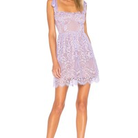 For Love & Lemons Valentina Lace Mini Dress in Lavender | REVOLVE