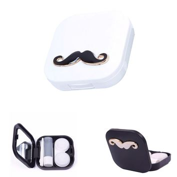 2017 Portable Mini Travel Cute Cartoon Beard Shape Contact Lenses Case Box Container