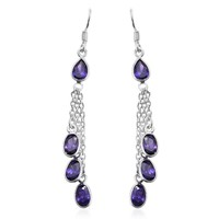 Simulated Purple Diamond Sterling Silver Long Dangle Earring