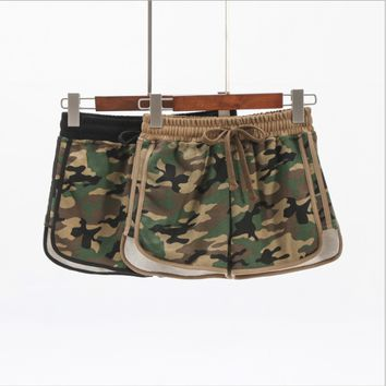 Chic Stussy Camouflage Cotton Yoga Shorts