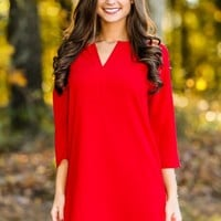 EVERLY:Pretty & Professional Dress-Red Dress Red