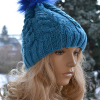 Knitted teal blue  cap hat - FUR POMPOM Women's Hat Winter Women Hat Slouchy Beanie Slouchy Hat Winter Beanie Knit Hats Women Slouchy Beanie