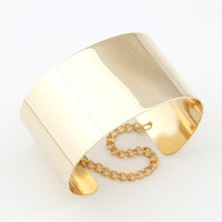 Cuff Bracelet 18K Gold Plated and Silver Mirror Bangle