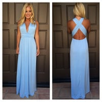 Dancing With The Stars Maxi Dress - POWDER BLUE