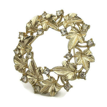 Signed Lisner Ivy Leaf Wreath Brooch - Gold Tone Leaves with Clear Rhinestone Accents - Vintage Circle Pin - Golden Ivy Leaves