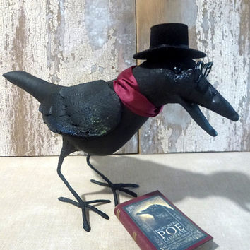 Edgar Allan Crow: vintage style, soft sculpture, hand painted, fabric art doll animal (raven, crow).