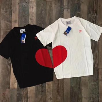 Adidas Couple models Girlfriend Embroidery Small Standard Flocking Love T shirt Short-sleeved bottoming shirt Casual Short sleeve