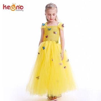 Princess Belle Girls Tutu Dress Beauty and The Beast Yellow Belle Cosplay Ball Gown Kids Party Carnival Halloween Costumes