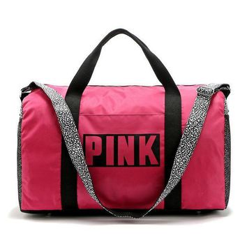 PINK Victoria's Secret Print Sport Gym Satchel Travel Luggage Bag