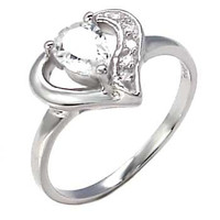 Sterling Silver Oval Cut and Round Cut CZ Heart Engagement Ring Size 5-9