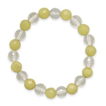 "7"" Faceted Lemon Quartz and Jade Bracelet"