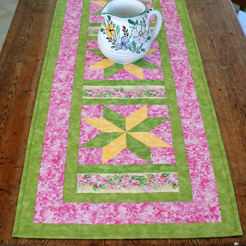 Quilted Table Runner - Floral Table Runner - Table Linens - Star Table Runner - Green Pink Yellow Table Runner - Anniversary Gift