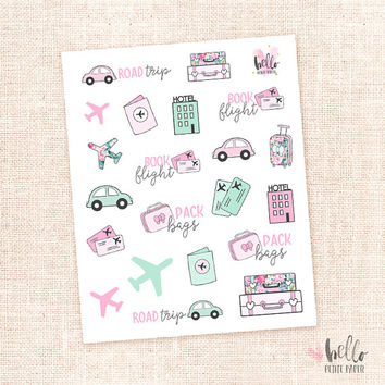 Travel stickers - 21 cute planner stickers / for the erin condren, happy planner, filofax