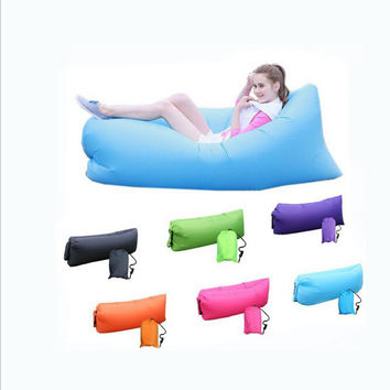 2016 Unique 10s Inflatable laybag Sleeping Bag Leisure Hang out Lounger Air Camping Sofa Beach Nylon Fabric sleep Bed Hammocks