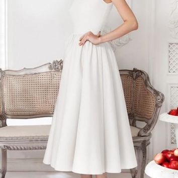 White Pleated Ruffle Round Neck Elegant Prom Evening Party Maxi Dresses