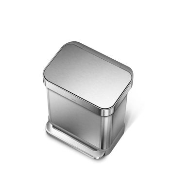 30 litre, rectangular step can with liner pocket, stainless steel