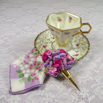 CIJ SALE Vintage Footed Teacup & Saucer Hexagon with Hankie and Velvet Flowers Tussie Mussie Corsage Pin Gift Set Royal Sealy
