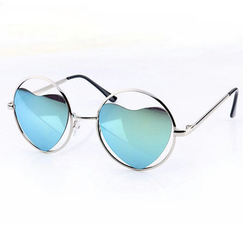Cool heart-shaped metal sunglasses