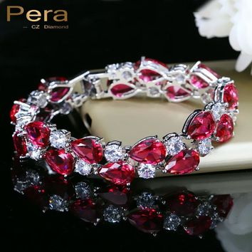 Pera 7 Colors Options Round And Oval Red Cubic Zirconia Stone Women Big Bracelets & Bangles For Wedding Jewelry Gift B028