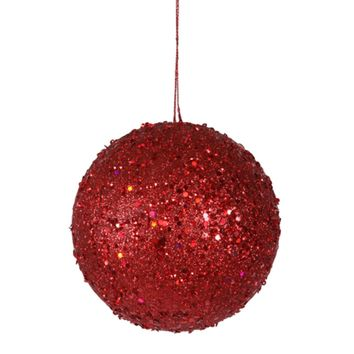 """Fancy Red Hot Holographic Glitter Drenched Christmas Ball Ornament 4.75"""" (120mm)"""