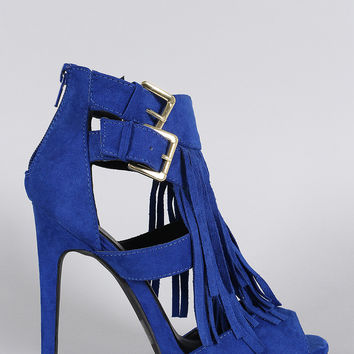 Qupid Double Buckle Falling Fringe Peep Toe Heel