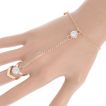 Gorgeous Rhinestone Bracelet Bangle Connected Finger Ring Gold Color Bangle Crystal Handlets Jewelry Gift
