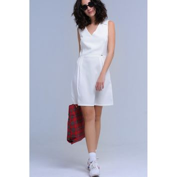 White V-Neck Sleeves Midi Dress