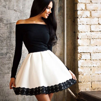 Off Shoulder High Waist Patchwork Lace-trimmed Short Dress