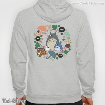 Totoro Kawaii My Neighbor ZIP-UP Hoodie Graphic Print Anime Soot Manga Catbus Hayao Miyazaki Studio Ghibli Grey Fashion Him Her Gift Unique