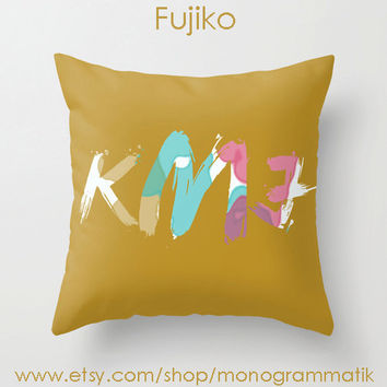 "Monogram Personalized Custom ""Fujiko"" 16x16 Pillow Cover Mustard Ochre Pastel Pink Purple Teal Aqua Tan Paint Splatter Couch Bedroom Decor"