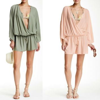 Vince Camuto Surplice Cover-Up Romper Blush Balm or Sage, Size XS-S/M-L