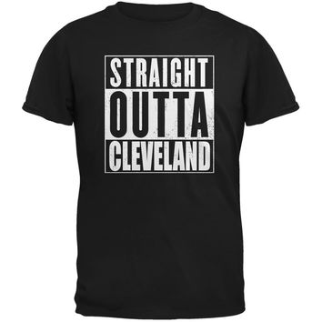Straight Outta Cleveland Black Adult T-Shirt