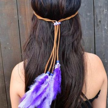 Leather Feather Headband #B1011