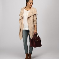 Sale-beige Cozy & Chunky Knit Cardigan