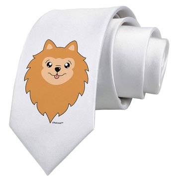 Cute Pomeranian Dog Printed White Necktie by TooLoud